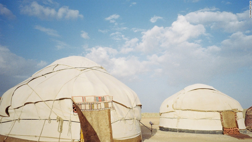 Yurts at the Ayaz-Qala camp in ancient Khorezm, about 100 kilometers from Khiva, Uzbekistan.
