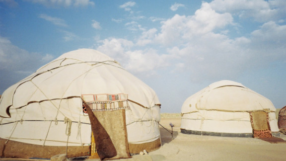 Yurts at the Ayaz-Qala camp in ancient Khorezm, about 100 kilometers from Khiva, Uzbekistan.