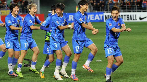 Ulsan Hyundai players perform the horse-riding dance of Psy