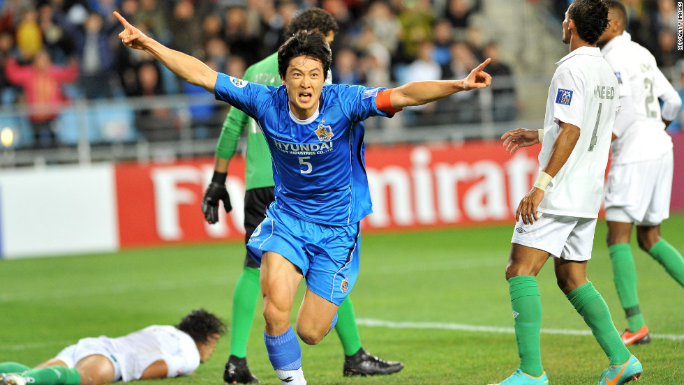 Ulsan captain Kwak Tae-hwi celebrates after scoring the opening goal of the final in front of his home fans.
