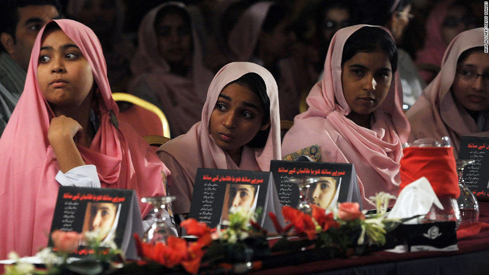 Pakistani students attend a Malala Day ceremony in Lahore on Saturday.