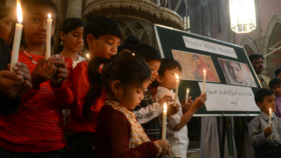 Pakistani Christians attend a prayer service for the recovery of teen activist Malala Yousufzai in Lahore on Sunday, November 11, 2012. Pakistan celebrated Malala Day on Saturday as part of a global day of support for the teenager shot by the Taliban.
