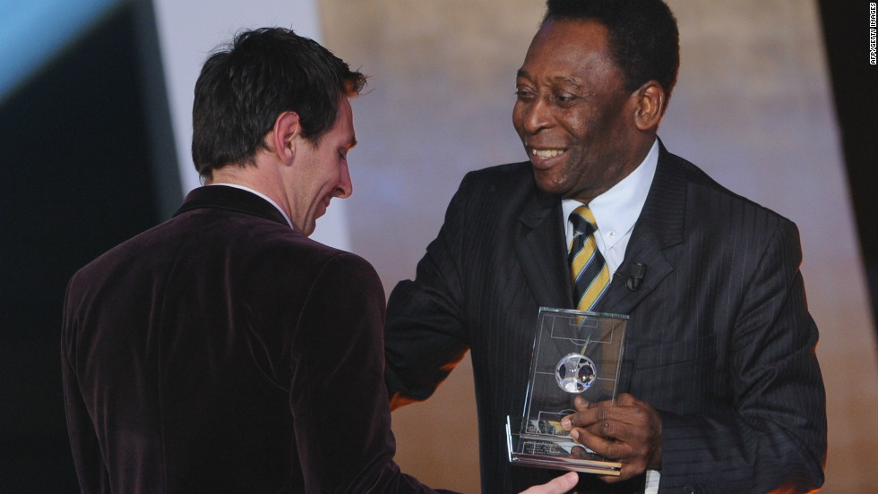 Messi is in line to win a fourth successive world player of the year award in January. Pele presented him with the Ballon d'Or at the start of this year.