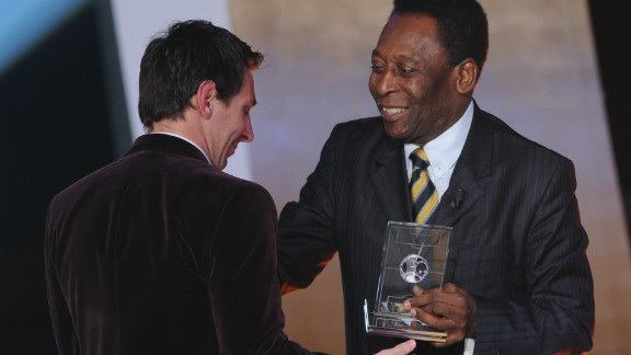 Messi is in line to win a fourth successive world player of the year award in January. Pele presented him with the Ballon d