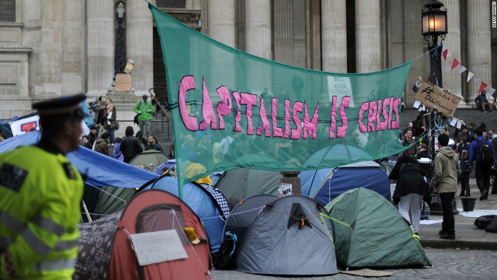 The global recession has seen protests across the western world with the Occupy movement taking root outside St Paul's Cathedral in London.