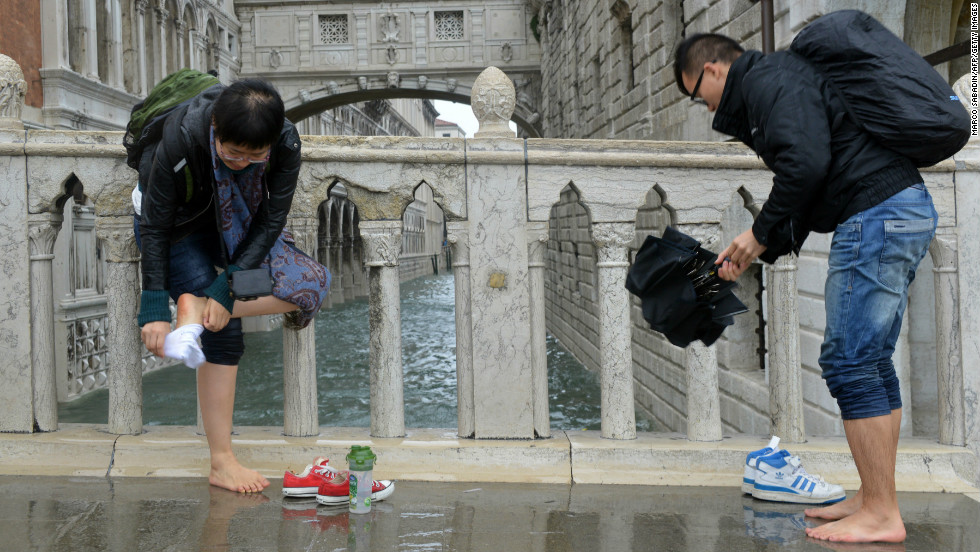 Up to 70 per cent of Venice was flooded, with sea levels peaking five feet above normal, according to reports.