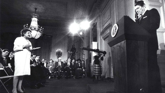 President Ronald Reagan addresses the media in 1987, months after the disclosure of the Iran-Contra affair. A secret operation carried out by an American military officer used proceeds from weapons sales to Iran to fund the anti-communist Contras in Nicaragua and attempted to secure the release of U.S. hostages held by Iran-backed Hezbollah in Lebanon. Mehdi Hashemi, an officer of Iran's Islamic Revolutionary Guards Corps, leaked evidence of the deal to a Lebanese newspaper in 1986. Reagan's closest aides maintain he did not fully know, and only reluctantly came to accept, the circumstances of the operation.