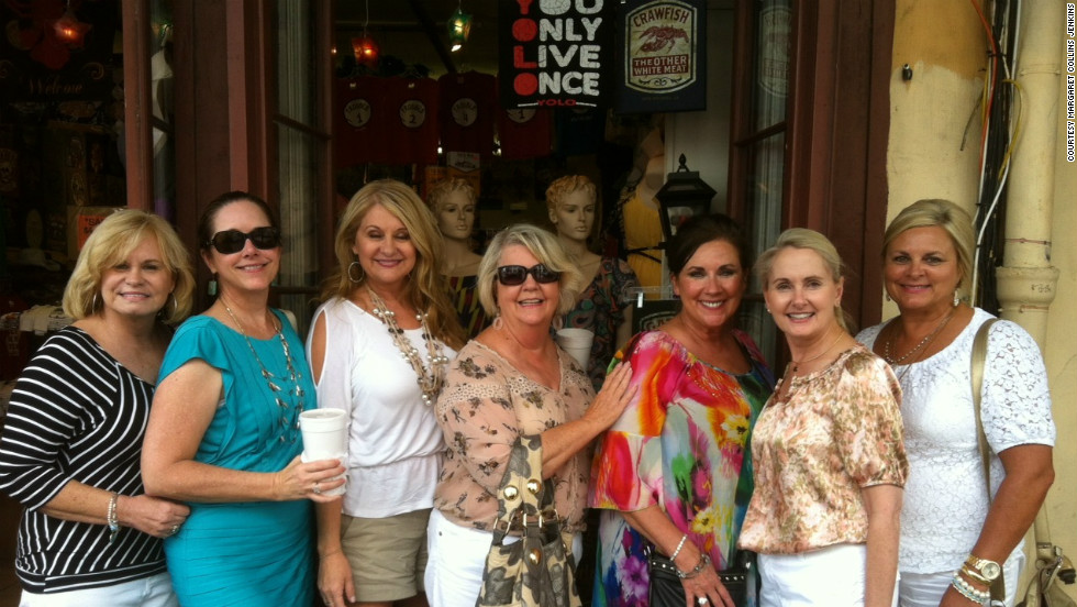 "Julie Abercrombie, Susan Mason, Margaret Collins Jenkins, Margaret Wright, Linda Phillips, Nita Gilmore and Sherry Downs travel to New Orleans for one of the ladies' weekend trips. <br /><br />Find more stories like this on <a href=""http://www.cnn.com/LIVING/"">CNN Living</a>, or take a break and join our conversation on <a href=""https://www.facebook.com/CnnLiving"" target=""_blank"">Facebook</a>."