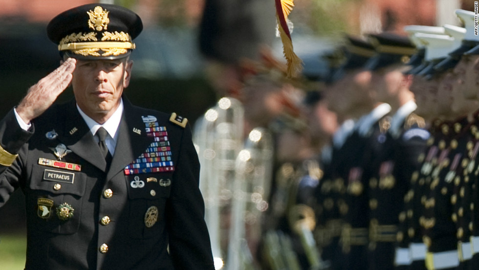 "Gen. David Petraeus, 60, <a href=""http://www.cnn.com/2012/11/12/us/petraeus-cia-resignation/index.html"" target=""_blank"">resigned Friday, November 9,</a> as head of the CIA and admitted having an affair.  His mistress was later identified as his biographer, <a href=""http://www.cnn.com/2012/11/10/politics/broadwell-profile/index.html"" target=""_blank"">Paula Broadwell</a>.  The retired four-star general formerly oversaw coalition forces in Iraq as well as U.S. and NATO forces in Afghanistan.  He and his wife, Holly, have been married 38 years and have two grown children."