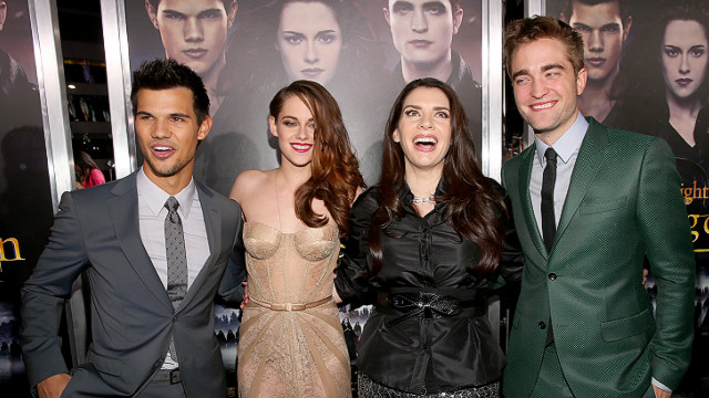 LOS ANGELES, CA - NOVEMBER 12: (L-R) Actors Taylor Lautner, Kristen Stewart, author Stephenie Meyer, and actor Robert Pattinson arrive at the premiere of Summit Entertainment's 'The Twilight Saga: Breaking Dawn - Part 2' at Nokia Theatre L.A. Live on November 12, 2012 in Los Angeles, California.