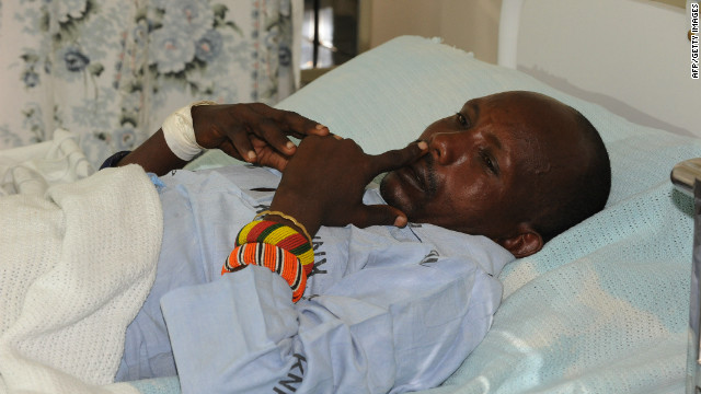 An injured Kenyan policeman recounts the attack in Baragoi, Kenya on Saturday.