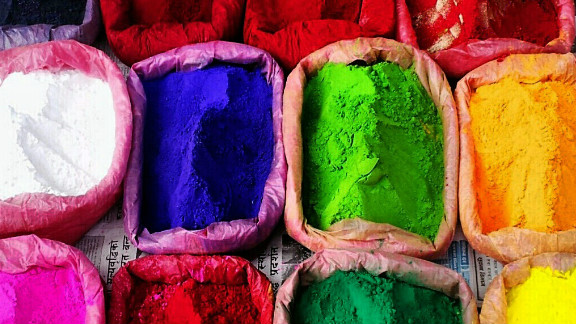 """This image of colorful powders, which are used to make rangoli artworks during Diwali, was snapped by iReporter Digamber Singh Rayamajhi as he walked through the busy streets of Kathmandu, Nepal.    """"As it is Diwali time the roads were bustling with people coming to shop,"""" he says. """"There were lot of little street shops on the pedestrian foot paths selling candles, colors, spices. I thought it looked beautiful and I just clicked few pics through my cell phone."""""""