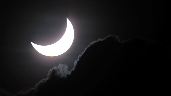 Near totality is seen during the solar eclipsein Palm Cove on Wednesday.