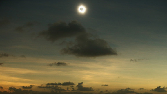 Totality is seen during the solar eclipse at Vlassof Cay in Palm Cove on Wednesday.