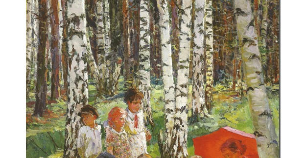 """This is a 1937 painting by Arkady Plastov, called ``Lesson in the Forest."""" Painters from the Soviet Union-era have been praised for their artistry despite living under a repressive regime."""
