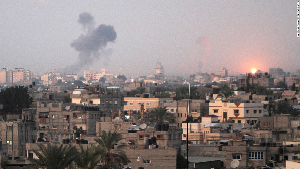 Smoke rises following an Israeli airstrike Wednesday, November 14, in Khan Younis, Gaza.