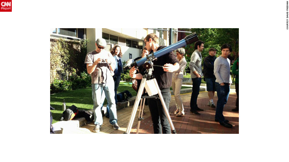"Staff and students used the campus at Swinburne University in Melbourne, Australia, to hook up telescopes and camera equipment to capture the eclipse, says <a href="" http://www.flickr.com/photos/13370398@N08/"" target=""_blank"">Kim Tairi</a>. ""We have a center for astrophysics and supercomputing here ... [so we] set up an area on campus [where] people could come past and get a look at the eclipse,"" she says."