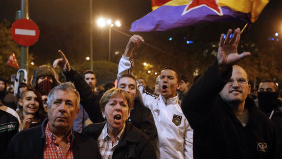 Protesters attend a demonstration organized by Spain