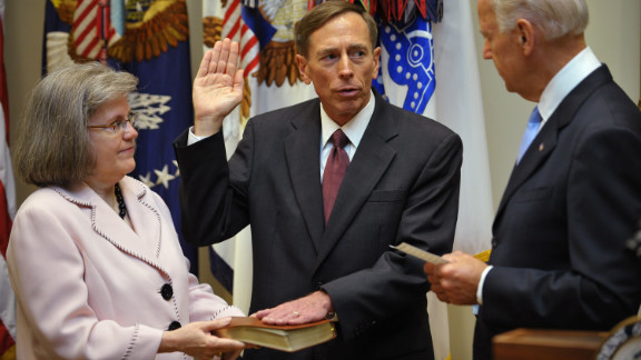 Petraeus takes the oath of office as the next director of the Central Intelligence Agency from Vice President Joe Biden as Petraeus