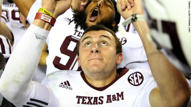 Texas A&M Aggies quarterback Johnny Manziel celebrates after last Saturday's victory over the Alabama Crimson Tide.