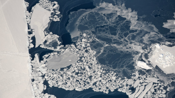 Aerial view of pancake ice, Ilulissat Isfjord, Greenland, March 2008. Courtesy of James Balog