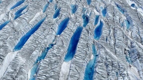 Aerial view of meltwater on Greenland Ice Sheet, June 2010. Courtesy of James Balog
