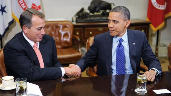 President Barack Obama and Speaker of the House John Boehner open