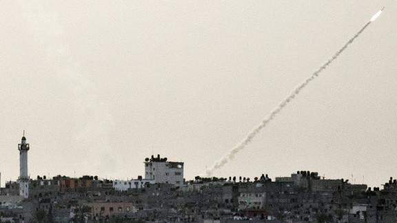 A rocket fired from Gaza toward Israel sails into the air Friday, November 16.