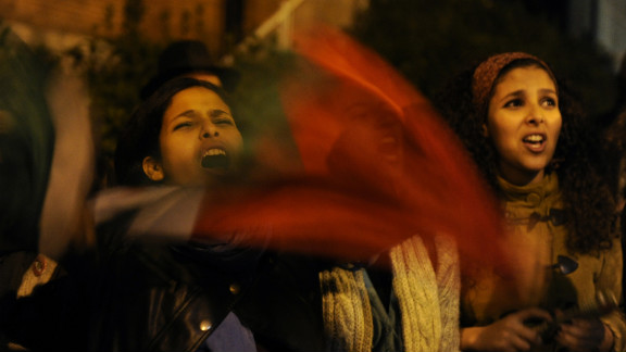 Pro-Palestinian demonstrators protest near the Israeli Embassy in Madrid on Friday, November 16, against Israel