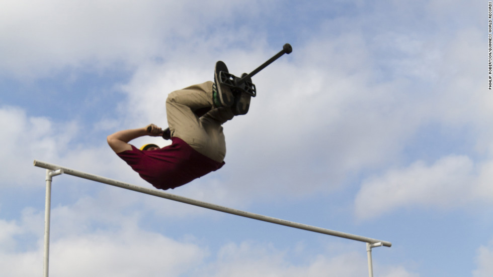 Michael Mena, an American Xpogo athlete, aimed high on Guinness World Records Day. He achieved the highest forward flip pogo stick jump at 8 feet.