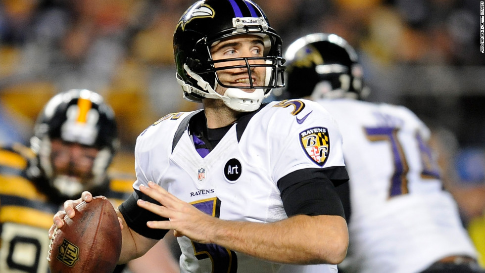 Quarterback Joe Flacco of the Baltimore Ravens looks to pass during the second quarter against the Pittsburgh Steelers.