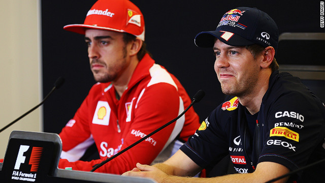 Sebastian Vettel (R) and Fernando Alonso will go head-to-head for the Formula One title in Brazil