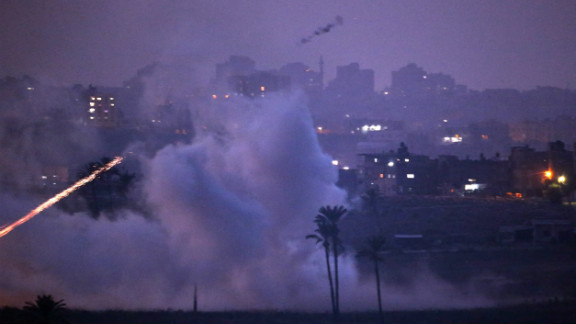 Israeli artillery shells hit a target in the Gaza Strip on Monday near Israel