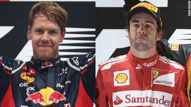 Sebastian Vettel (left) will be looking to hold off Fernando Alonso in the final race of the 2012 season.