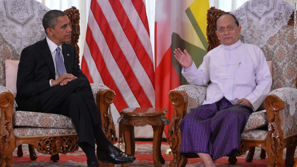 U.S. President Obama and Myanmar's President Thein Sein hold a meeting at the regional parliament building in Yangon on Monday.