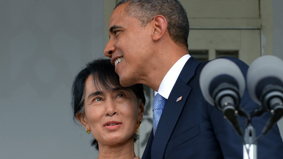 U.S. President Barack Obama hugs Myanmar opposition leader Aung San Suu Kyi  after making a speech at her residence in Yangon on Monday, November 19. Obama met the democracy icon  during a historic visit to Yangon aimed at encouraging political reforms in the former pariah state.