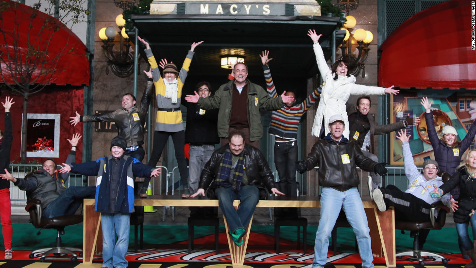 "The cast from the Broadway musical ""Elf"" rehearses for the parade at Macy's Herald Square store Monday, November 19, in New York."