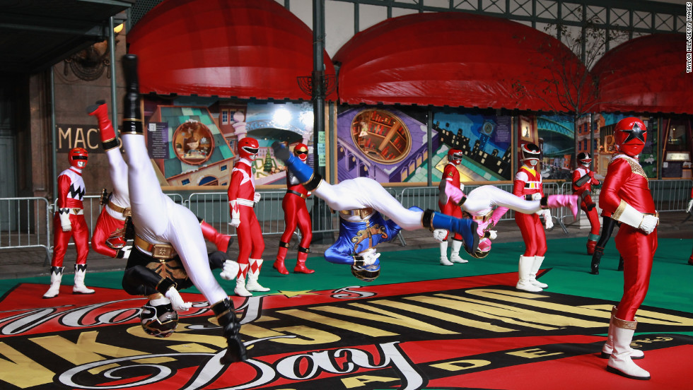 Power Rangers Megaforce figures take action Monday, the first day of parade rehearsals.