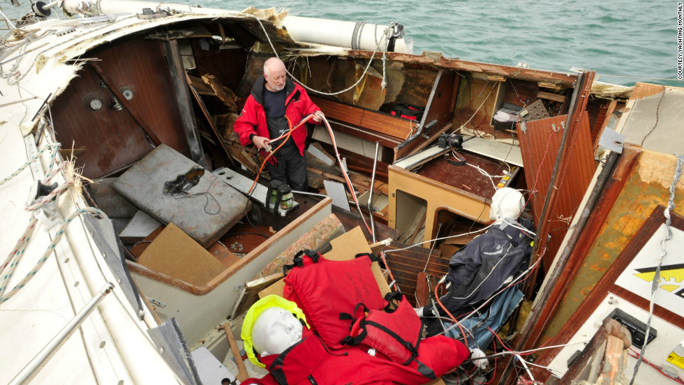 Former Yachting Monthly editor Paul Gelder inspects the damage after the explosion. The team wanted to show the consequences of disasters and the best ways of dealing with them.