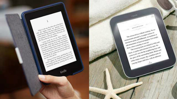 The Kindle Paperwhite, left, and Nook Simple Touch are leading e-readers, but booming tablet sales could spell doom.
