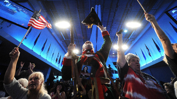 Supporters cheer at a Tea Party Unity Rally ahead of the Republican National Convention in Tampa, Florida, in August.