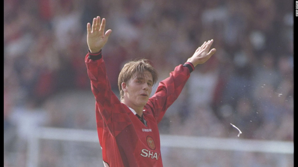 David Beckham made his debut for English Premier League team Manchester United in 1993. By 1996, the midfielder was becoming renowned for his ability to score and create goals with his now legendary right foot. In a match against Wimbledon, Beckham stunned football fans by scoring from the halfway line.