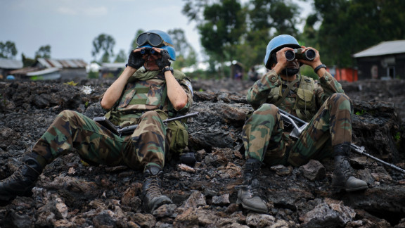 U.N. peacekeepers look at M23 rebel positions on the outskirts of Goma, in the Democratic Republic of Congo, on November 18.