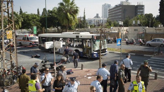 A general view of the scene after an explosion on a bus in central Tel Aviv.