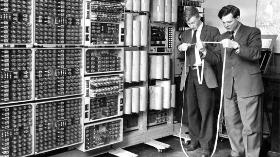The WITCH computer, first used in the 1950s, reads programs that are punched into strips of tape.