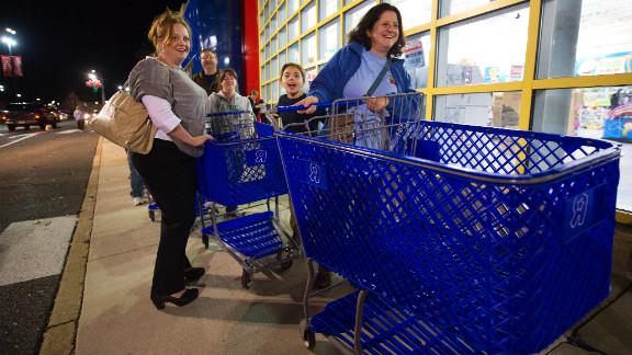 Black Friday shoppers anticipate a great Black Friday haul at the Fair Lakes Shopping Center in Fairfax, Virginia, on November 24, 2011.