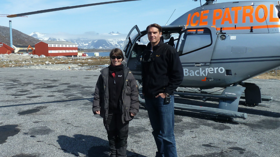 CNN camera woman Claudia Otto and correspondent Fred Pleitgen before taking off on a survey mission.