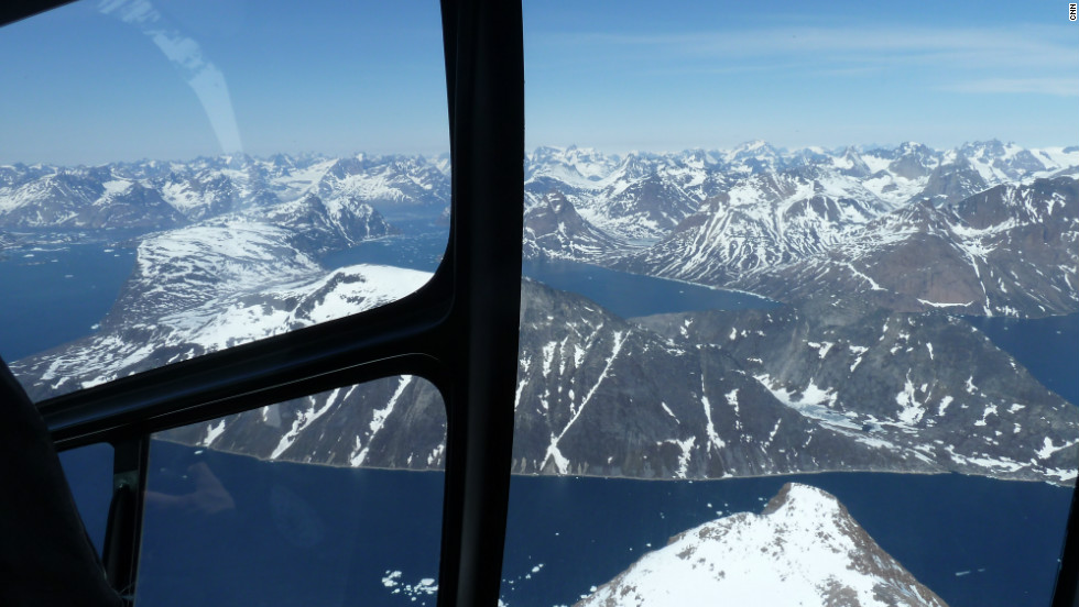 Amazing fjord landscape in southern Greenland seen from DMI helicopter.