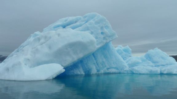 Massive blue iceberg near the research farm shows why agriculture is still such a challenge. It is hard to find crops that will grow in the cold.