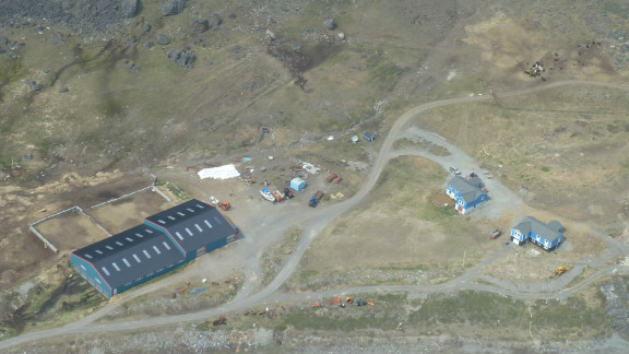 Exploratory mine from the air. Mining companies believe there is an abundance of natural resources hidden in Greenland that they hope to exploit when the ice recedes.